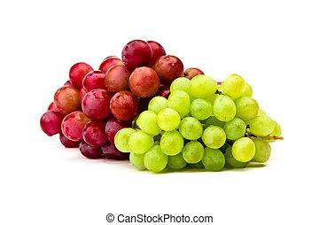 zieleń biała, winogrono, odizolowany, czerwony