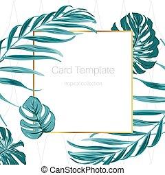 zieleń, ułożyć, paproć, tropikalny, prostokątny, brzeg