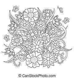 ziele, doodle, kwiaty, motyl