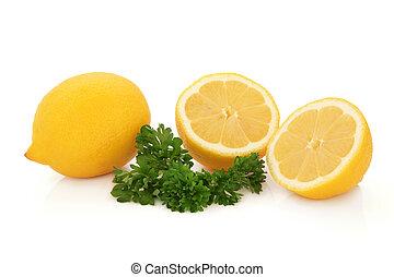 ziele, owoc, cytryna, pietruszka