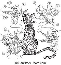 ziele, ręka, pociągnięty, ozdobny, kot, rysunek