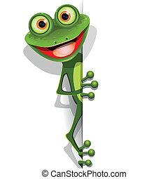 zielona żaba, wesoły