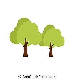 zielone drzewa, wektor, ilustracja, płaski