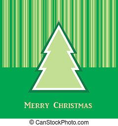 zielone drzewo, kartka na boże narodzenie