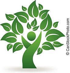 zielone drzewo, ludzie, logo, wektor