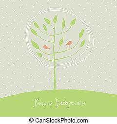 zielone drzewo, z, ptaszki, na, branches., wektor, eps8.