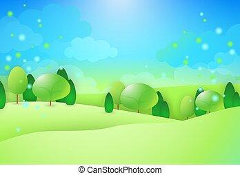 zielone górki, drzewa