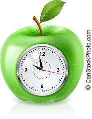 zielone jabłko, zegar