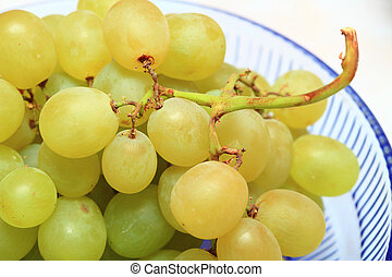 zielone listowie, świeży, winogrono, owoce