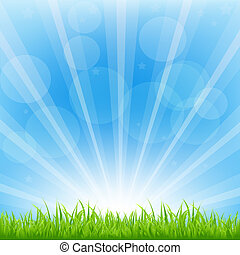 zielone tło, z, sunburst