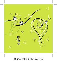 zielone tło, z, zabawny, ptaszki, dla, twój, projektować