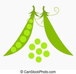 zielone ziarnko grochu