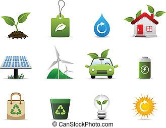zielony, środowisko, ikona