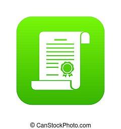 zielony, świadectwo, ikona