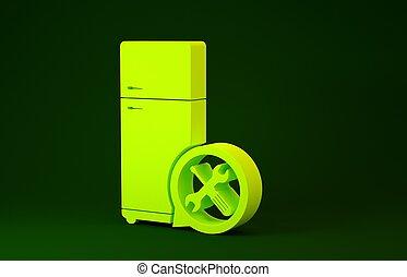 zielony, 3d, odizolowany, śrubokręt, naprawa, zmontowanie, ikona, utrzymanie, chłodnia, regulując, ilustracja, fixing., render, concept., minimalizm, tło., żółty, służba, szarpnąć