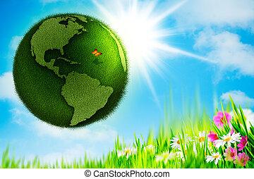 zielony abstrakt, earth., tła, środowiskowy