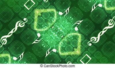 zielony abstrakt, muzyka, pętla
