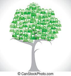 zielony, biznesmeni, drzewo