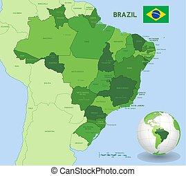 zielony, brazylia, wektor, administracyjny, mapa