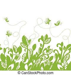 zielony, brzeg, seamless, liście