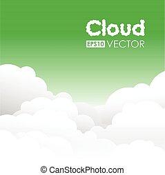 zielony, chmura, tło