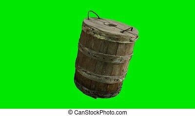 zielony, chromakey, tradycyjny, drewno, wiadro, tło, stary