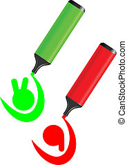 zielony czerwony, ikona