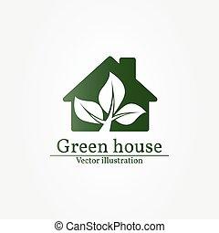 zielony dom, logo., wektor, illustration.