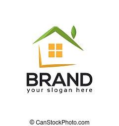 zielony dom, na białym, tło., abstrakcyjny, dom, logo., logo, wektor, ilustracja