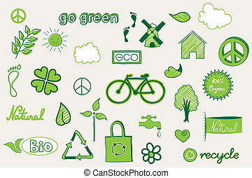 zielony, doodle