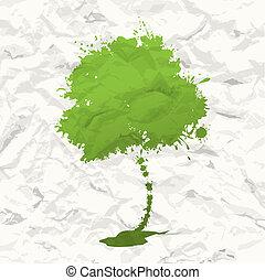 zielony, drzewo., zmięty papier