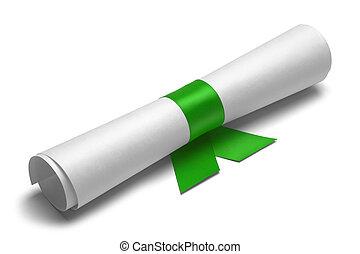 zielony, dyplom, wstążka