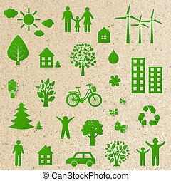zielony, eco, ikony