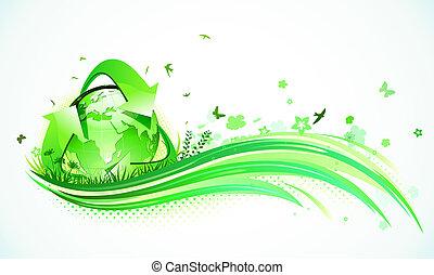 zielony, eco, tło