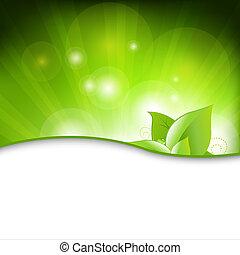 zielony, eco, tło, z, liście