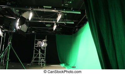 zielony, ekran, komplet, oświetlenie
