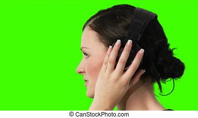 zielony, ekran, muzyka, kobieta, słuchający