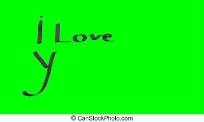 zielony, ekran, ożywienie, kaligrafia, pisanie, ja kocham was, i, rysunek, niejaki, serce, z, czarny atrament, na, papier, struktura