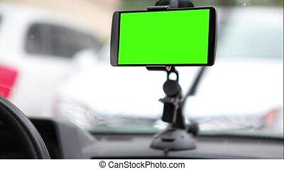 zielony, ekran, smartphone, posiadacz