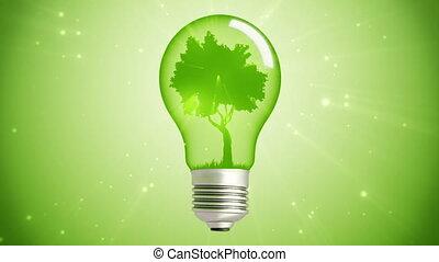 zielony, energia, bulwa, drzewo, pętla