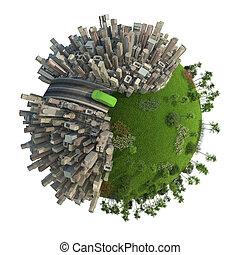 zielony, energia przewóz, pojęcie, planeta