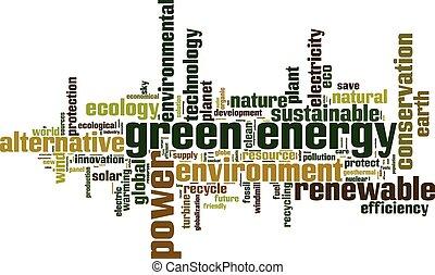 zielony, energia, słowo, chmura