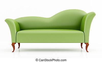 zielony, fason, leżanka