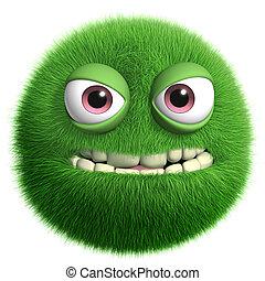 zielony, futrzany, potwór