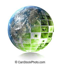 zielony, futurystyczny, technologia
