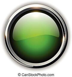 zielony, guzik, błyszczący