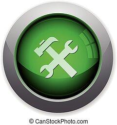 zielony, guzik, narzędzia