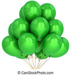 zielony, hel, balony