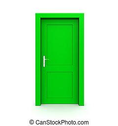zielony, jednorazowy, drzwi, zamknięty