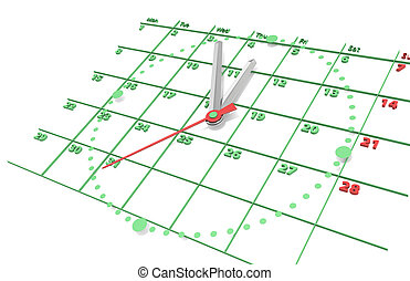zielony, kalendarz, edition., clock.